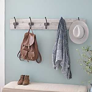Distressed White Wood Hooks Wall Plaque