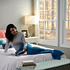 Blue Knit Mermaid Tail Blanket