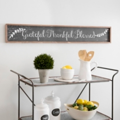 Grateful Thankful Blessed Wooden Wall Plaque
