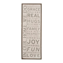 White In Our Home Wooden Wall Plaque