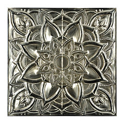Polished Metallic Floral Medallion Plaque