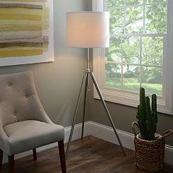 Brushed Steel Tripod Floor Lamp