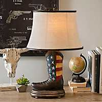 American Flag Cowboy Boot Table Lamp