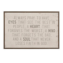 White Always Pray Wooden Wall Plaque