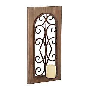 Ornate Scroll Wood Frame Sconce