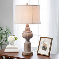 Distressed Natural Finial Table Lamp