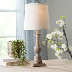 Light Wood Spool Table Lamp
