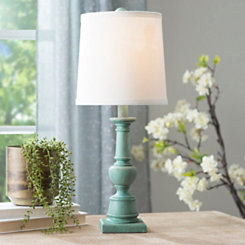 Distressed Turquoise Spool Table Lamp