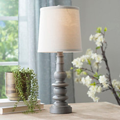 Weathered Gray Spool Table Lamp