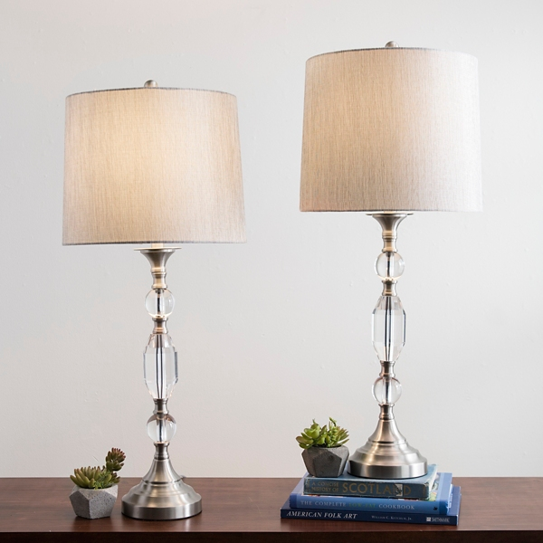 Silver Crystal Table Lamp, Set Of 2