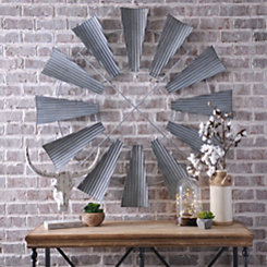 Metal Silver Windmill Plaque