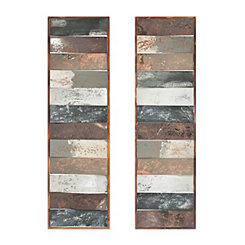 Multi Metallic Panel Wall Plaques, Set of 2