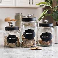 Black Scalloped Chalkboard Canisters, Set of 3