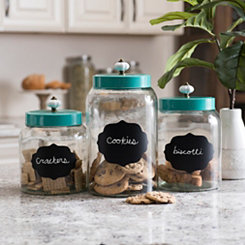 Turquoise Scalloped Chalkboard Canisters, Set of 3