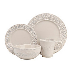 Gray Bianca Leaf 16-pc. Dinnerware Set