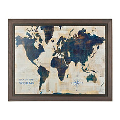 Blue and Cream World Map Framed Art Print