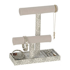 Gray Leaf T-Bar Jewelry Stand