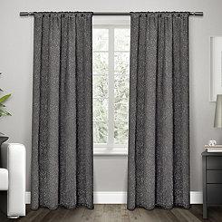 Embossed Black Pearl Curtain Panel Set, 84 in.