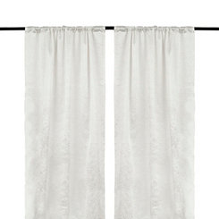 Embossed Off White Curtain Panel Set, 84 in.