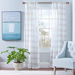 Snowflake Linen Cabana Curtain Panel Set, 84 in.