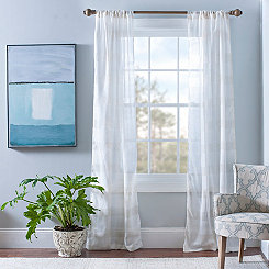Snowflake Linen Check Curtain Panel Set, 84 in.