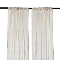 Natural Dobby Linen Curtain Panel Set, 84 in.