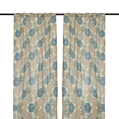 Gray and Blue Miranda Curtain Panel Set, 96 in.