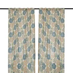 Gray and Blue Miranda Curtain Panel Set, 96 in.