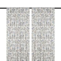 Sarabeth Gray and Blue Curtain Panel Set, 96 in.