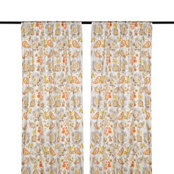 Sarabeth Gray and Orange Curtain Panel Set, 96 in.