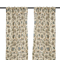 Ivory Floral Wendy Curtain Panel Set, 96 in.