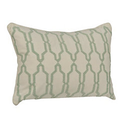 Teal Boucle Embroidered Pillow
