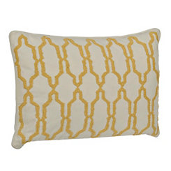 Yellow Boucle Embroidered Pillow