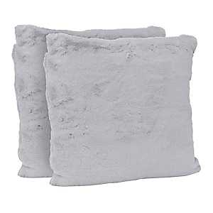 Gray Faux Fur Pillows, Set of 2