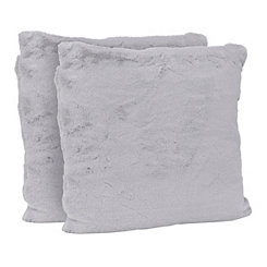 Gray Faux Fur Pillows, Set of 2