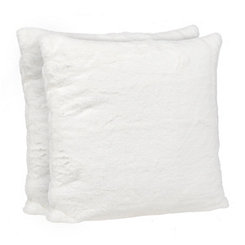 White Faux Fur Pillows, Set of 2