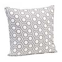 Gray Geometric Embroidered Pillow