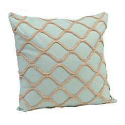 Teal Jute Lattice Pillow