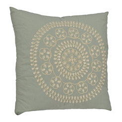 Blue Medallion Embroidered Pillow