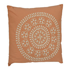 Coral Medallion Embroidered Pillow