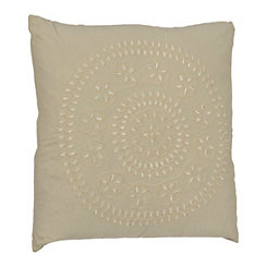 Tan Medallion Embroidered Pillow