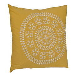 Yellow Medallion Embroidered Pillow