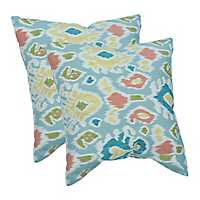 Blue Watercolor Shapes Pillows, Set of 2