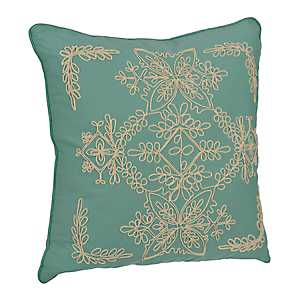 Blue Laurel Scroll Applique Pillow