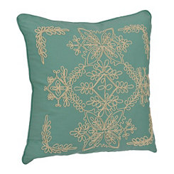 Blue Laurel Scroll Applique Pillow