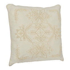 White Scroll Rope Applique Pillow
