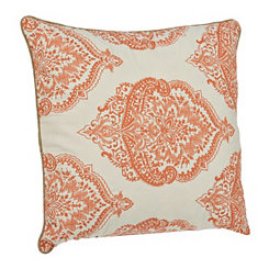 Coral Floral Medallion Pillow