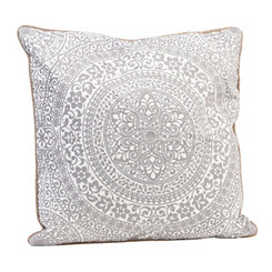 White Medallion Embroidered Pillow