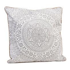White Medallion Embroidered Pillow
