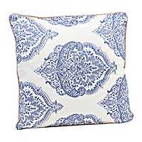 Blue Damask Embroidered Pillow